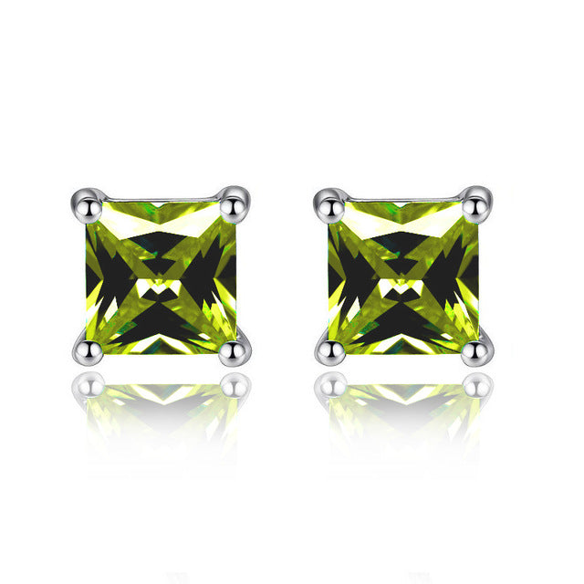 Austrian Crystal Cube Stud Earrings