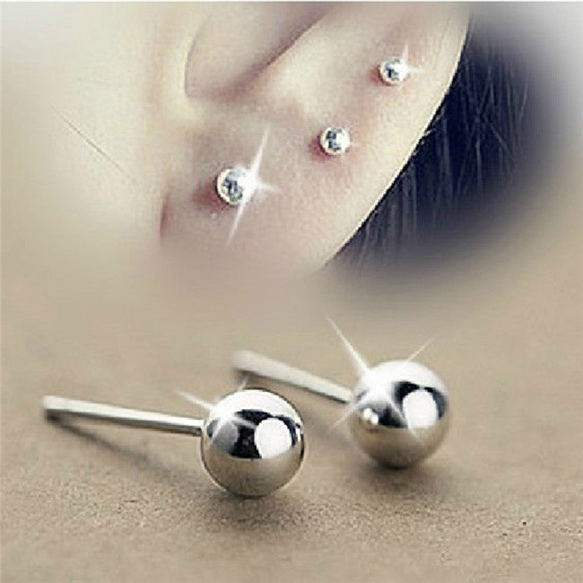 Classic Silver-shine Stud Earrings