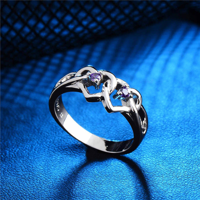 Silver Double Heart Lover's Ring