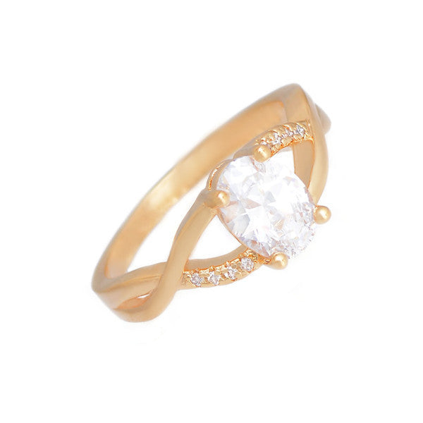 Elegant Hollow Cubic Zirconia Ring