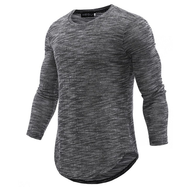 Curved Hem Long Sleeve Shirt