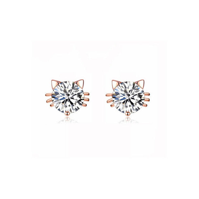 Rhinestone Crystal Cat Earrings