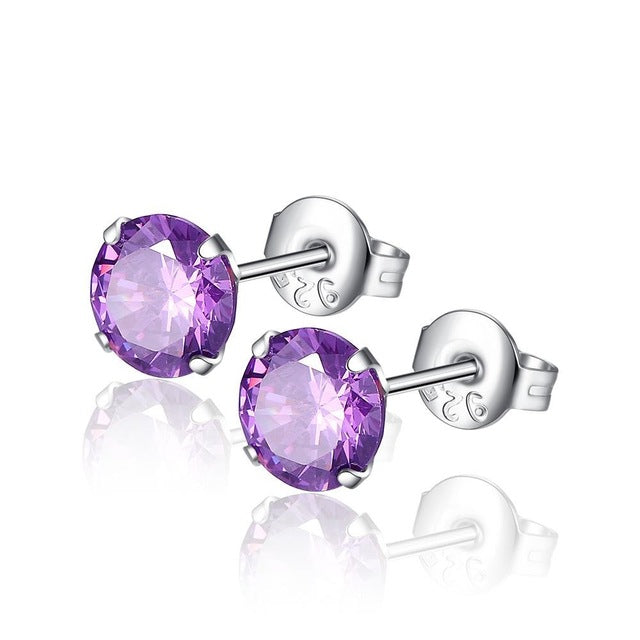 Zirconia Paved Round Stud Earrings