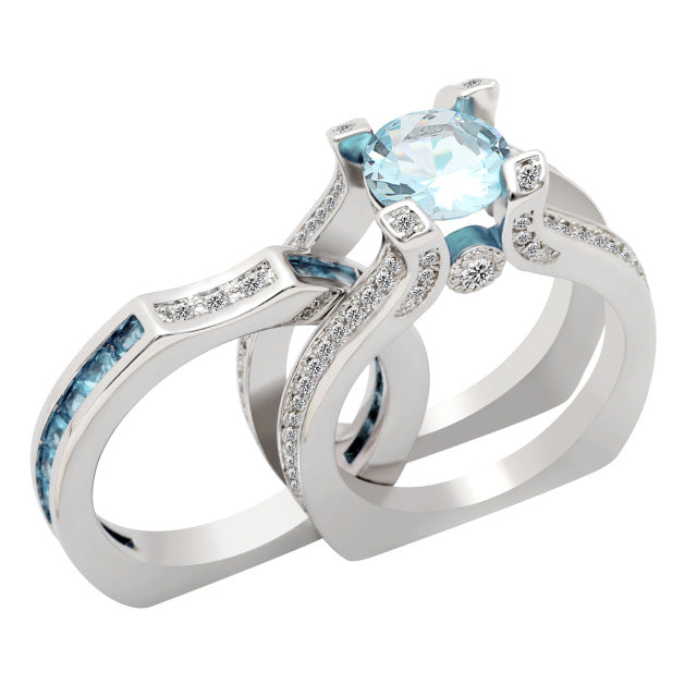 Unique White Gold Zirconia Encrusted Ring Set