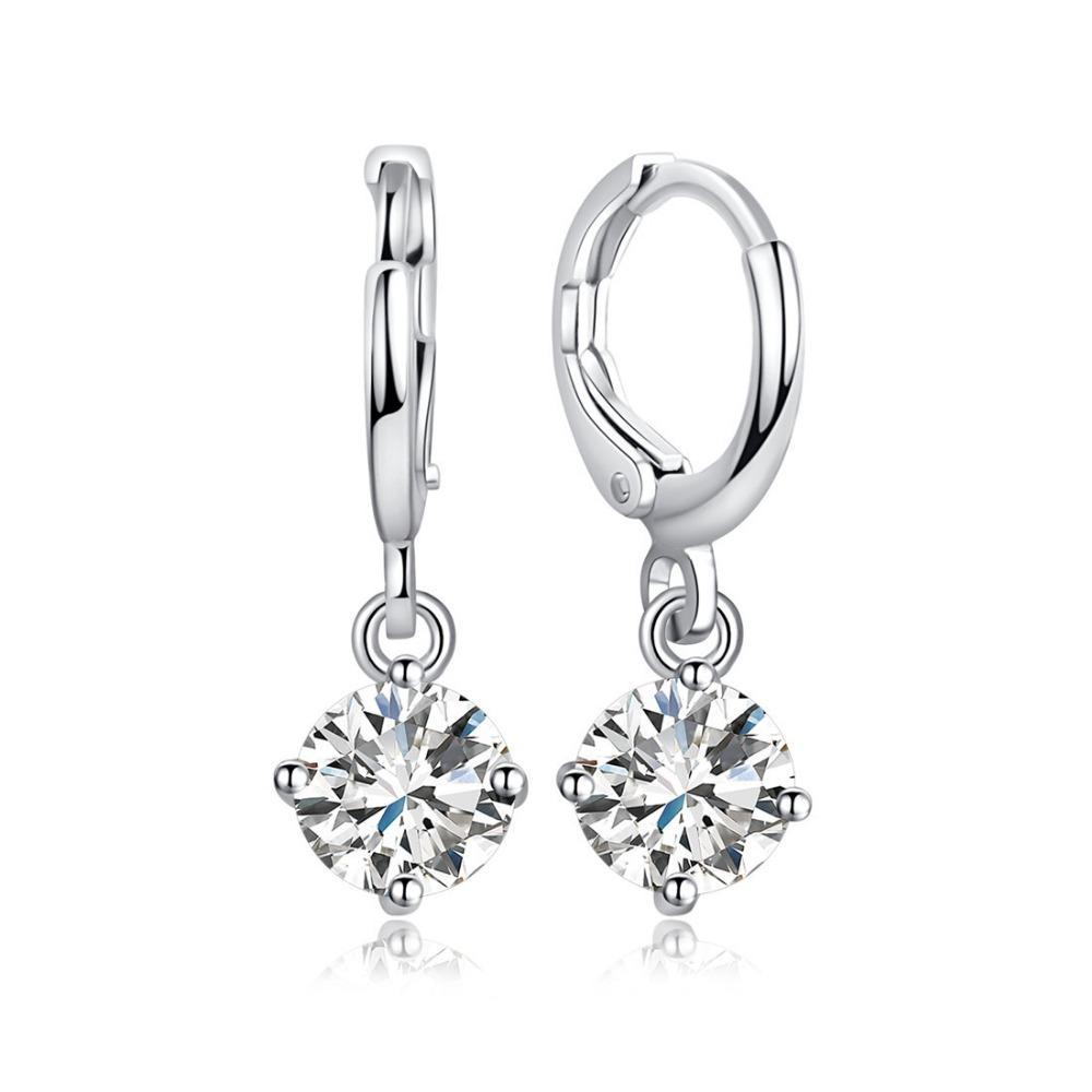 Silver Water-drop Crystal Earrings