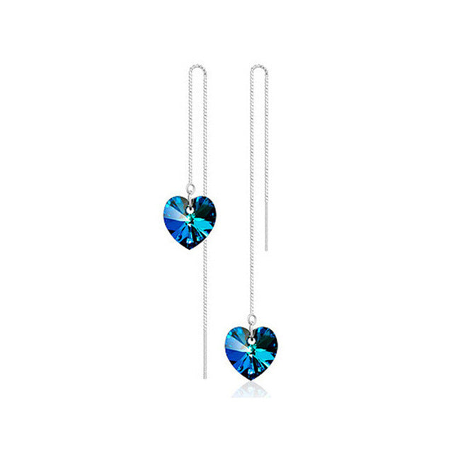 Crystal Heart Chain Drop Earrings