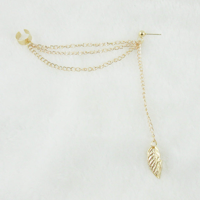 Gold / Silver Leaf Tassel Pendents Earrings
