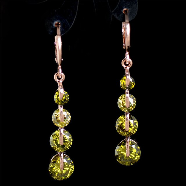 4 Gem Dangle Drop Earrings