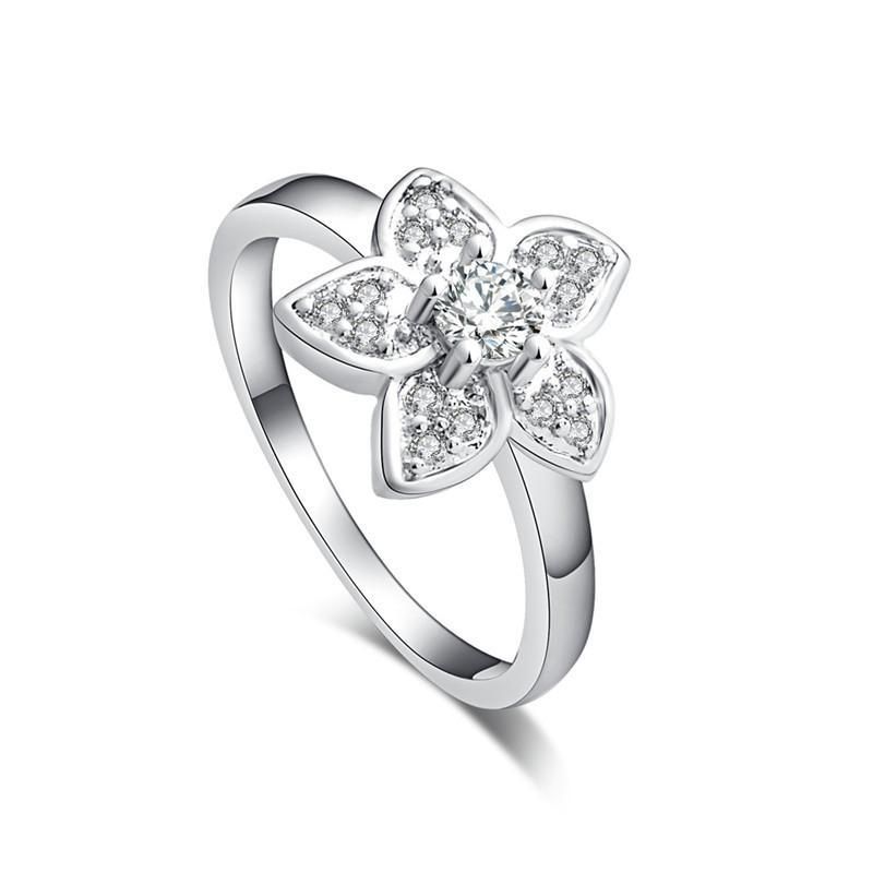 White Flower Cubic Zirconia Ring