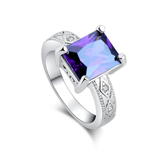 Square Cut Geo Crystal Ring
