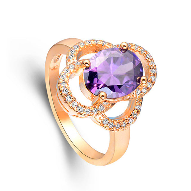 Hollow Cubic Zirconia Noble Ring