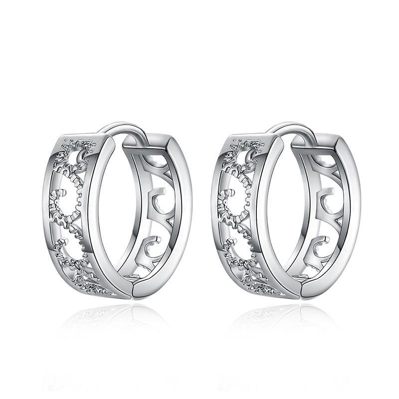 AAA Rhinestone Silver Hoop Earrings