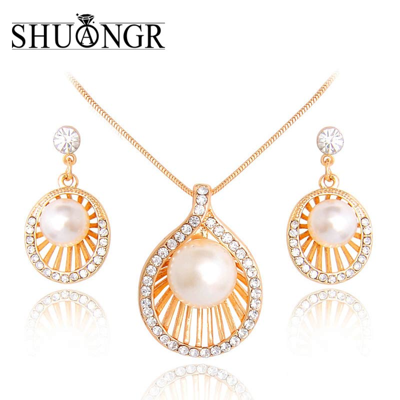SHUANGR Imitation Pearl Jewelry Set Simulated Pearl Girl Crystal Earrings Necklace Earring Jewelry Sets for Women Wedding