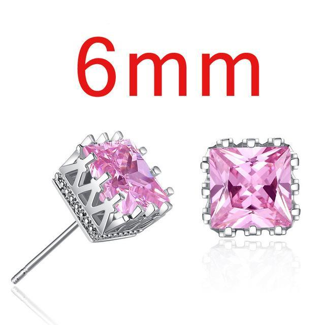 Large Square Crystal Crown Earrings