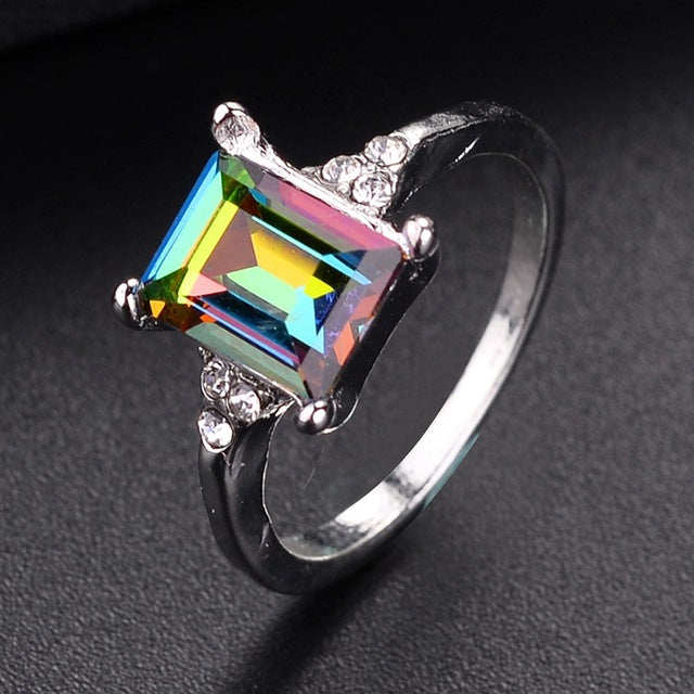 SHUANGR 2018 New Fashion Green Mystic Multicolor Ring Silver-color Ring Wedding Accessories Engagement For Women