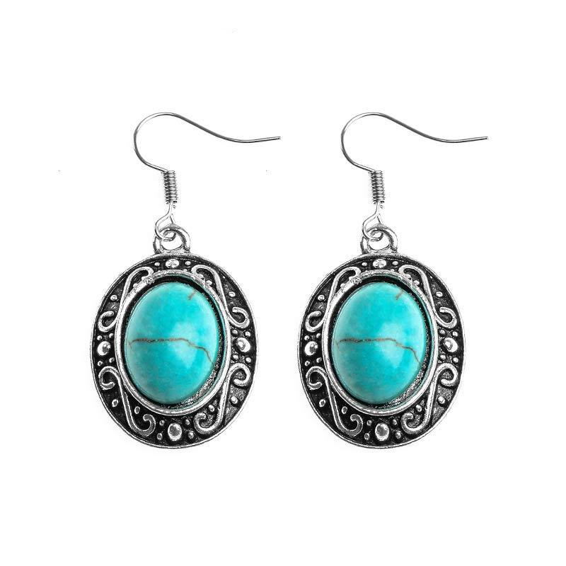 Vintage Tibetan Silver Stone Bead Drop Earrings