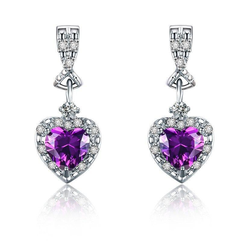 Classic Purple Crystal Heart Earrings