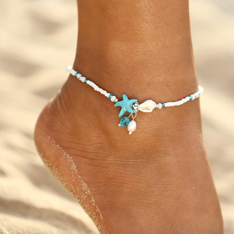 Pearl Starfish Charm Anklet