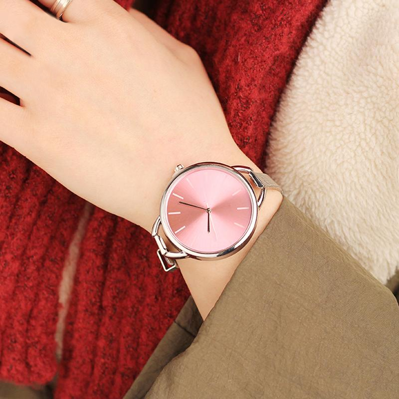 Ladies Stainless Steel Big Dial Watch Bangle