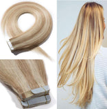18 Inch 20pcs 100g Virgin Human Hair Tape in Extensions Highlighted #18/613 Ash Blonde Mix Bleach Blonde Long Straight Hair Seamless Skin Weft Invisible Double Sided Tape