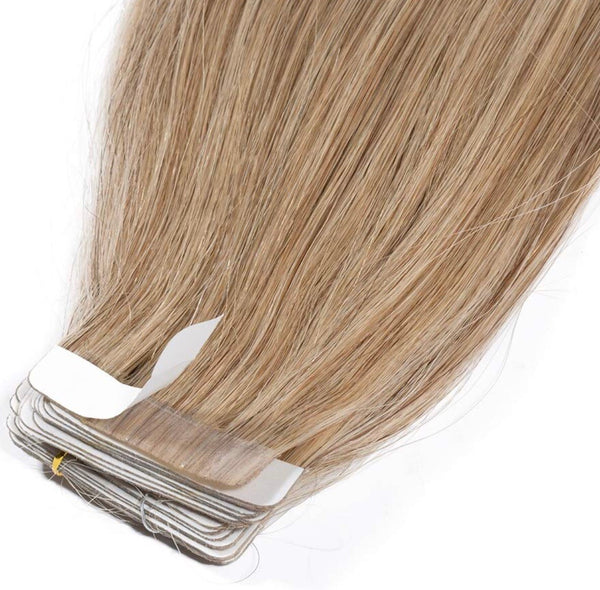 "18"" 100g Virgin Tape in Hair Extensions Human Hair 20pcs #27 Dark Blonde Straight Hair Seamless Skin Weft Invisible Double Sided Tape"