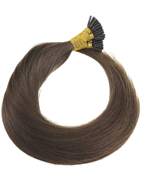 18inch Pre bonded I Tip Virgin Hair Extensions Dark Brown #4 1g/s Human Hair Extensions Fusion I Tip Hair Total 100g/pack