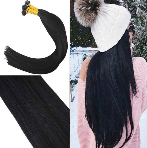 18 Inches 100% Real I Tip Hair Extensions Fusion Human Hair Jet Black #1 Fusion Tip Extensions Virgin Human Hair Salon Style 50Strands 100g