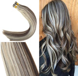 "18"" Virgin Pre Bonded Keratin Itip Hair Extensions Dark Brown with Golden Blonde Dip Dyed Fusion Extensions I Tip Human Hair 100g"