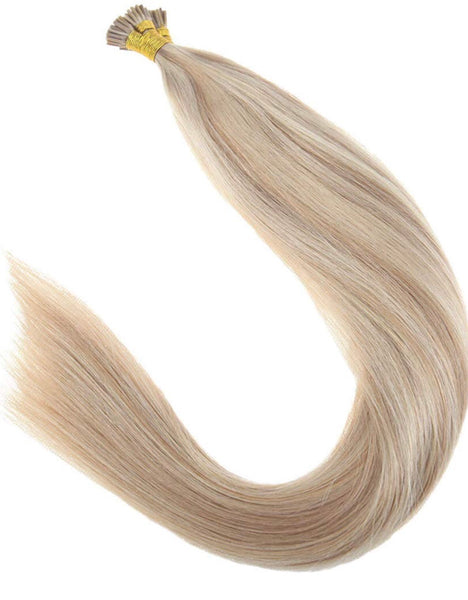 18inch Virgin Itip Human Hair Extensions Pre Bonded Fusion Human Hair Ash Blonde Highlighted with Bleach Blonde Keratin Fusion Stick Tip Human Hair Extensions 100G