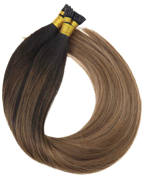 18inch 100% Real I-tip Virgin Human Hair Extensions Balayage Darkest Brown Fading to Medium Brown with Caramel Blonde Fusion Hair Extensions I Tip Virgin Human Hair 100Gram