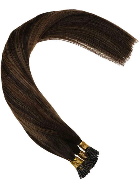 Balayage I Tip Virgin Human Hair Extensions Darkest Brown Mixed with Medium Brown Ombre Cold Fusion Stick Tip Extensions Virgin Human Hair