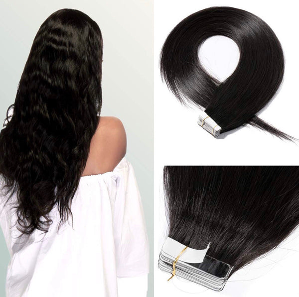 18 Inch 100g 20pcs Virgin Human Hair Tape in Hair Extensions #1B Natural Black Hair Seamless Skin Weft Invisible with Double Sided Tapes