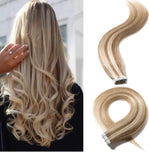 18 Inch 100g Tape in Hair Extensions Virgin Human Hair Highlight #12/613 Golden Brown Mix Bleach Blonde 20 Pcs Long Straight Hair Seamless Skin Weft Invisible Double Sided Tape Tape Bonds