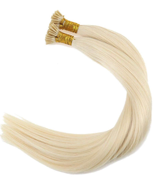 18Inch 100% Real Hair Extensions I Tip Virgin Human Hair #60 White Blonde Fusion Keratin I-Tip Extensions Human Hair 50Strands 100g/pack