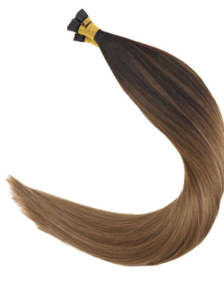 I-tip Virgin Human Hair Extensions Balayage Darkest Brown Fading to Medium Brown with Caramel Blonde Fusion Hair Extensions I Tip Virgin Human Hair