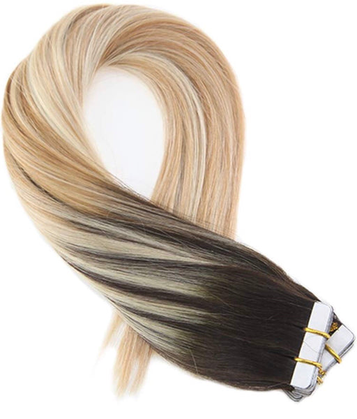 Virgin Hair Extensions Tape Tape in Hair Extensions Color #2 Brown Fading to Blonde #27 Mixed #613