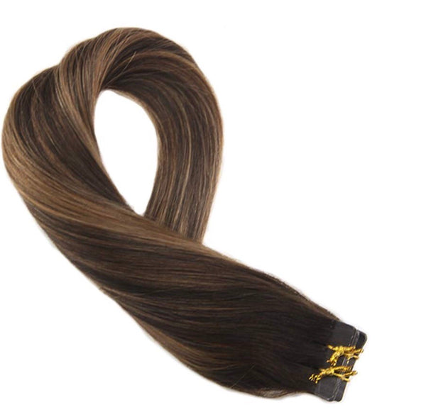 Tape In Virgin Human Hair Extensions Dark Brown #2 Ombre to Brown #6 Highlighted with #2 Tape in Hair