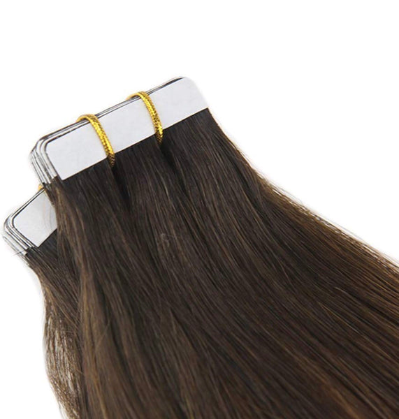 18 Inch Glue on Adhesive Tape In Virgin Human Hair Extensions Color Dark Brown #2 Ombre to Brown #6 Highlighted with #2 Tape on Hair 20PCS 100G