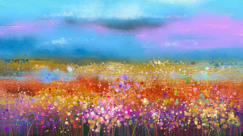 Abstract Wildflower And Field -  unique single-piece wallpaper from Pattern and Picture