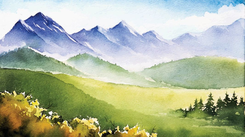 Alpine Spring View Watercolour -  unique single-piece wallpaper from Pattern and Picture
