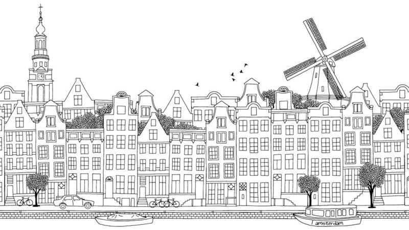 Amsterdam Ink Skyline Black and White -  wall murals from Pattern and Picture