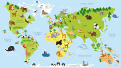 Animal Magic Map -  unique single-piece wallpaper from Pattern and Picture