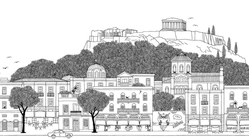Athens Ink Skyline Black and White -  wall murals from Pattern and Picture