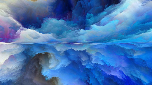 Blue Abstract Landscape -  unique single-piece wallpaper from Pattern and Picture