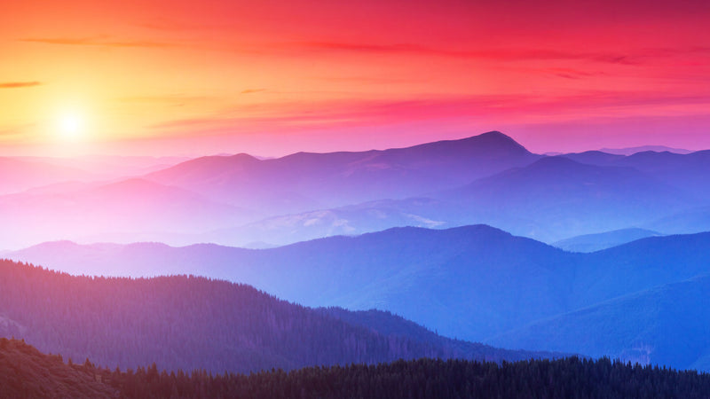 Dusky Sunset Over The Misty Mountains -  unique single-piece wallpaper from Pattern and Picture