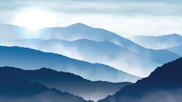 Glowing Mountain Vista Blue -  unique single-piece wallpaper from Pattern and Picture