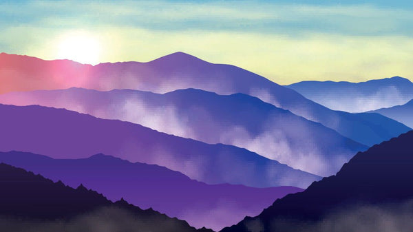 Glowing Mountain Vista Purple -  unique single-piece wallpaper from Pattern and Picture