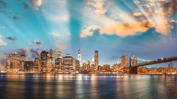 Manhattan Skyline Colour -  unique single-piece wallpaper from Pattern and Picture