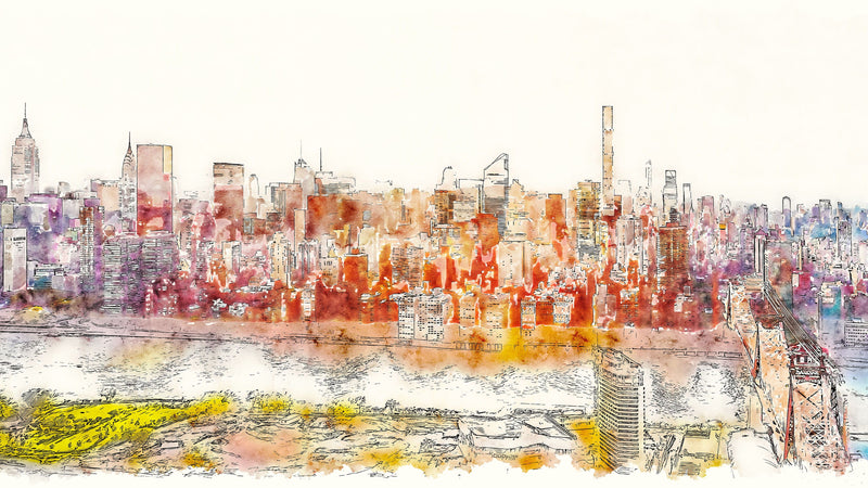 Manhattan Watercolour -  unique single-piece wallpaper from Pattern and Picture