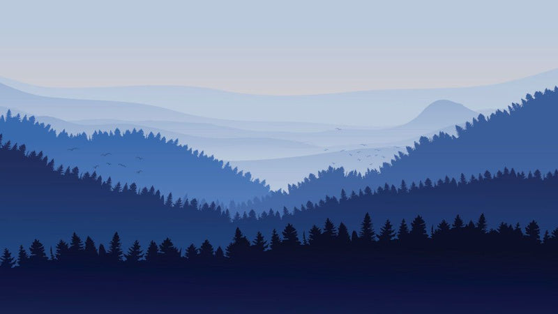 Misty Blue Valley Impression -  unique single-piece wallpaper from Pattern and Picture